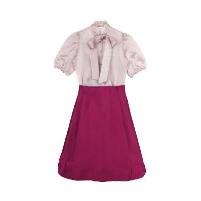 silk puff sleeve blouse & A-line silk skirt pink